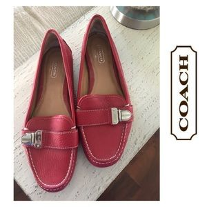 Red Leather Coach Loafers